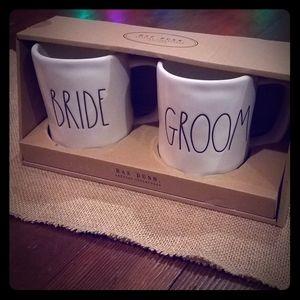Rae Dunn bride groom mugs